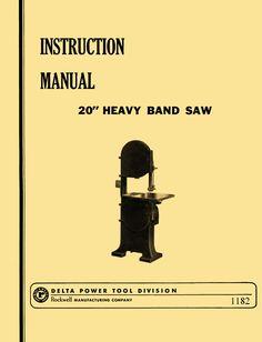 """Rockwell-Cresent Heavy Duty 20"""" Band Saw Operators & Parts Manual - http://ozarktoolmanuals.com/machinemanual/rockwell-cresent-heavy-duty-20-band-saw-operators-parts-manual/ #DeltaMilwaukeeRockwell"""
