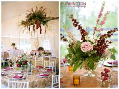 wedding tent ceiling decor hanging details hang ladder with flowers florals burgundy red gold pink reception details decor © 2015 Purrington Photography Bemidji Minnesota Wedding and Portrait Photographer www.PurringtonPhotography.com