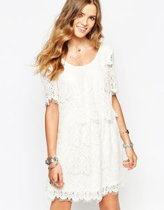 Vila All Over Crochet Dress