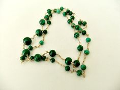 Malachite Bead Necklace Gold Tone Links by ediesbest on Etsy, $29.99