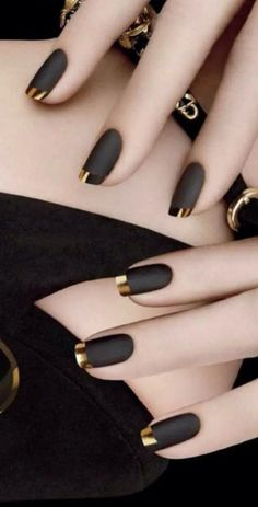 50 Superb Black Nail Art Designs Ideas That You Must Try Matte Nail Art, Black Nail Art, Black Nail Polish, Black Nails, Matte Black, Acrylic Nails, Black Gold, Black French Manicure, Nail Nail