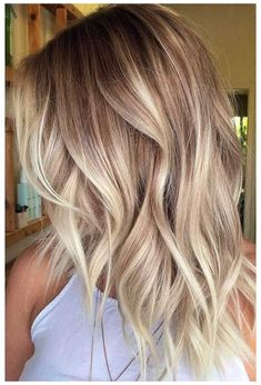 Ombre Hair Color, Cool Hair Color, Blonde Wavy Hair, Icy Blonde, Bright Blonde, Blonde Hair Cuts Medium, Blonde Roots, Long Blonde Bobs, Blonde Hair Styles Medium Length