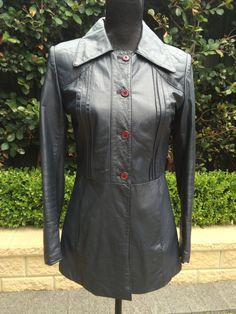 VINTAGE Espagna Navy Leather Jacket Size 10 by FashionReviva