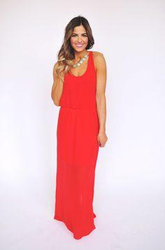 16a237d8c15 Dottie Couture Boutique - Red Chiffon Tank Maxi