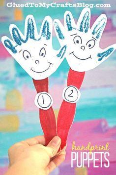 Handprint Thing 1 & 2 Puppets - Dr Seuss themed kid craft idea!