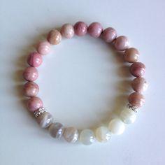 Astrology ~ Cancer Sign ~ Genuine Rhodonite & Rainbow Moonstone Bracelet w/ Swarovski Crystal Spacers