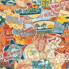 Vintage Hawaii Collage - Seamless Beach/Tiki Theme Decal