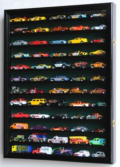 Hot Wheels Matchbox scale Diecast Display Case Cabinet Wall Rack w/UV Protection -Black Hot Wheels Storage, Hot Wheels Display, Hot Wheels Case, Boy Room, Kids Room, Do It Yourself Organization, Car Bedroom, Bedroom Kids, Matchbox Cars