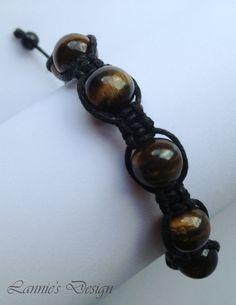 Adjustable Unisex Bracelet with Tigers Eye Gemstone // Free Shipping within USA