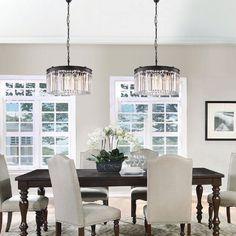 Casual Dining Rooms, Elegant Dining Room, Dining Room Design, Dinning Light Fixture, Dining Room Lighting, Dining Room Chandeliers, Kitchen Lighting, Elegant Chandeliers, Loft Room