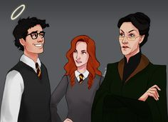 James wondering if he can flirt his way out of this one. by KitTheKiwi James, Lily and McGonagall
