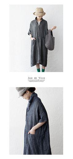 【楽天市場】【送料無料】joie de vivre リネンデニム織り ボックスシャツリネンワンピース:BerryStyleベリースタイル