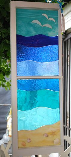 This is such pretty window art! From the Artful Gift Shop in Vienna VA, handmade by artist Lynn Gillis. could be done in stained glass instead of fused Stained Glass Designs, Stained Glass Panels, Stained Glass Projects, Stained Glass Patterns, Stained Glass Art, Mosaic Art, Mosaic Glass, Fused Glass, Mosaic Windows