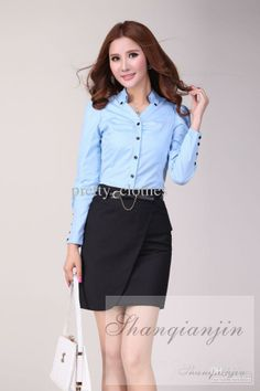 Womens Skirts Graceful Ladies Skirts Knee Length Skirts Trendy Formal Dress (Blue dress shirt)