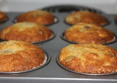 These muffins are so moist and delicious there are never any leftovers. I am a person that does not like an overabundance of banana flavour so these were just right. You can also make this into a banana loaf as well. Adapted from a recipe I found on the Food Network.