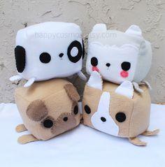 Dog Animal Plush - Kawaii Plushie , Cute Stuffed Animal, Children Softie, Husky, Puppy, Pug, Corgi on Etsy, $20.00