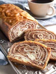 Slovenian potica (poh-TEET-zah), a traditional rolled sweet dough with nut paste filling.