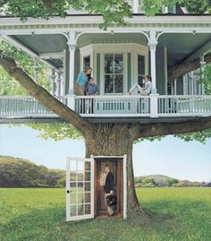 A REAL tree house! It& like the REAL old home that I always wanted to own say down in GA or SC. Wrap around porch, Mint Juleps. summertime in the south! in a TREE! Future House, My House, Cool Tree Houses, Pallet Tree Houses, Tree House Designs, In The Tree, Play Houses, Cubby Houses, Fancy Houses