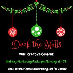 It's beginning to look a lot like holiday marketing!  We're here to help make all your holiday 2016 marketing endeavors a success with custom marketing packages starting at $25.  Give us a shout for more information at (860) 984-3440. #SocialMedia #BlogPosts #SpecialProjects #FacebookAds #CreativeContent