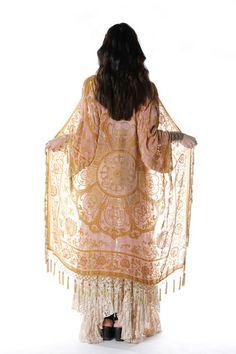 Gypset Medallion Velvet Burnout Tassel Kimono