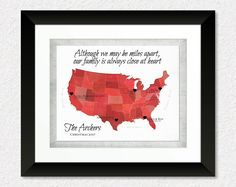 Long Distance Christmas Gift for Mom & Dad, Christmas Gift for Mom and Dad, Long Distance Gift for Grandma, Family Quote Print, US Map Art by KeepsakeMaps on Etsy