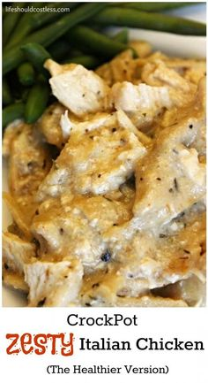 CrockPot Zesty Italian Chicken, The Healthier Version. Packed with protein, this delicious dish keeps you full for hours. #greekyogurt {lifeshouldcostless.com}