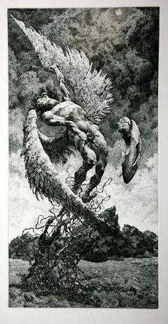 Julian Jordanov. Icarus. 1994. Icarus Tattoo, Angel Drawing, Amazing Drawings, Art Drawings, Gothic Pattern, Exhibition Poster, Traditional Art, Surreal Art, Printmaking