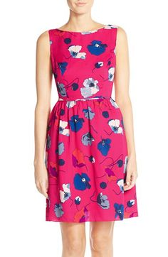 Calvin Klein Flower Pop Printed Fit And Flare Dress