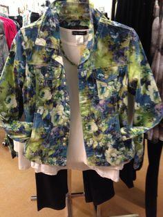 Fun floral denim jacket.