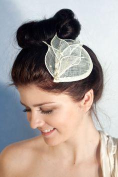 Bridal Millinery Hat with Swarovski pearls, Ivory Bridal Headpiece, MIllinery Sinamay Hat, Bridesmaid Fascinator