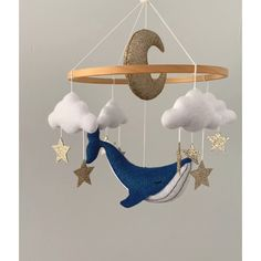 Blue whale mobile, nursery crib mobile, unique baby gift, hanging felt mobile with clouds moon ang gold stars Christmas Gift Baskets, Diy Christmas Gifts, Handmade Christmas, Baby Room Decor, Nursery Decor, Whale Mobile, Hawaiian Party Decorations, Felt Mobile, Star Mobile