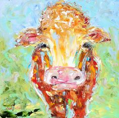 Original oil painting ABSTRACT Lovely COW by Karensfineart