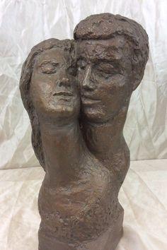 Vintage Austin Productions Sculpture 1962 Bust Man & Woman Bronze Finish #AustinProductions #Vintage