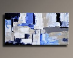 Original Textured Abstract Painting on Canvas Contemporary Modern Art Blue Brown painting Wall Hanging wall decor home decor Grey Wall Decor, Wall Art Decor, Grand Art Mural, Black And White Painting, Black White, Large Canvas Art, Blue Canvas, Hand Painted Canvas, Art Moderne