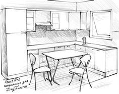 как нарисовать кухню карандашом 4