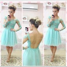 Am89 long sleeve homecoming dress, lace homecoming dress, mint prom dress, short prom dress, cheap prom dress, prom dress 2017