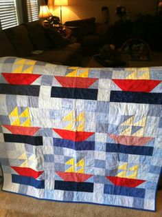 Scrappy  sailboat quilt - perfect for a little boy