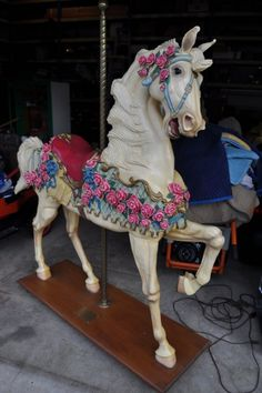Hand Carved Wooden Carousel More