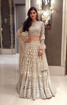 Diana Penty Beige Khatli Work Georgette Party Wear Lehenga Choli With Dupatta Indian Fashion Trends, Indian Designer Outfits, Designer Dresses, Designer Shoes, Indian Wedding Outfits, Bridal Outfits, Indian Outfits, Indian Bridal Party, Party Wear Indian Dresses