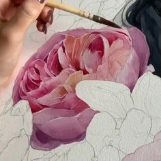 Rose by Polina Bright - ART:Ideas (painting) - Watercolor Painting Techniques, Watercolor Video, Watercolor Flowers, Watercolor Paintings, Painting With Watercolors, Peony Painting, Bright Art, Painting Patterns, Botanical Art
