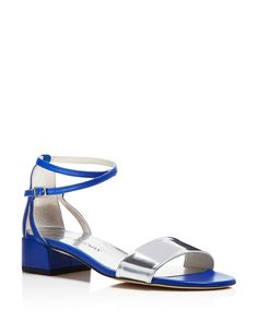 Stuart Weitzman Peewee Metallic Ankle Strap Block Heel Sandals - High-shine metallic finishes and an elegant ankle strap silhouette dress up Stuart Weitzman's block-heeled city sandals.