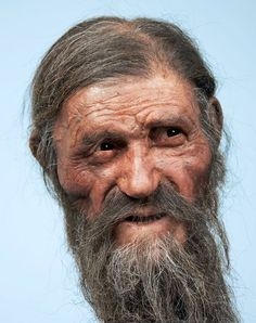 A reconstruction of Otzi the Iceman -- a remarkably well preserved mummy -- recently created by Dutch forensic experts. Stonehenge, National Geographic, Forensic Facial Reconstruction, The Iceman, Anthropologie, Early Humans, Hunter Gatherer, Portraits, Science And Nature