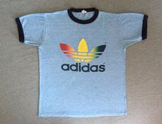 ADIDAS Shirt Vintage 80's / Rare RAINBOW TREFOIL by sweetVTGtshirt