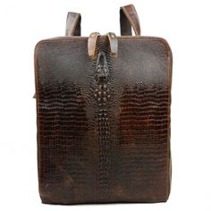 EU Direct | Genuine Leather Men Multifunctional Crocodile Pattern Travel Backpack