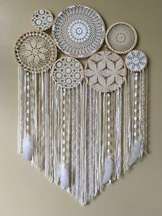 Dream Catcher Wall Hanging • Doily Dream Catcher • Boho Dreamcatcher • Nursery Wall Decor • Dorm Decor • Boho Decor • Crochet Wall Hanging by driftwoodanddreamers on Etsy https://www.etsy.com/listing/503157562/dream-catcher-wall-hanging-doily-dream