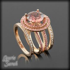 Round Cut Rose Zircon Wedding Ring Set with Pink Sapphire Double Halo and Two Diamond Wedding Bands - LS2692 on Etsy, $3,698.55
