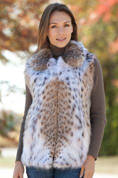 Women's Petra Lynx Fur Vest by Overland Sheepskin Co. (style 11702)