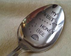 Recycled Silverware My Sweet Honey Bee  vintage silverplate hand stamped spoon