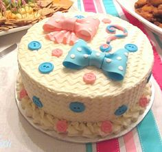 Bows or Bow Ties Gender Reveal Cake - Miss Dixie