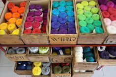 Old drawers used as a #yarn organizer #DIY